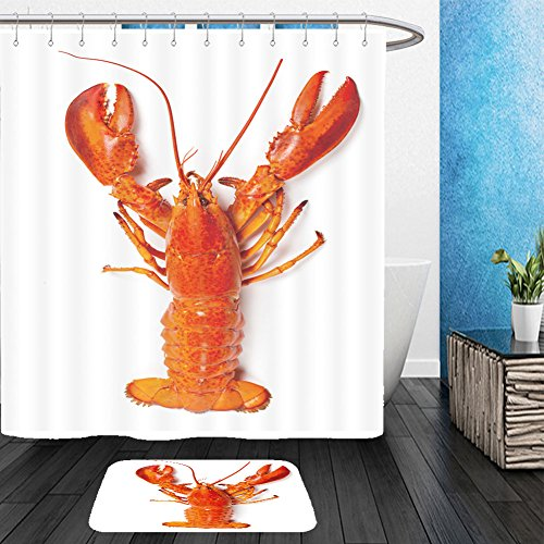 Vanfan Bathroom 2 Suits 1 Shower Curtains & 1 Floor Mats boiled lobster 158509097 From Bath room