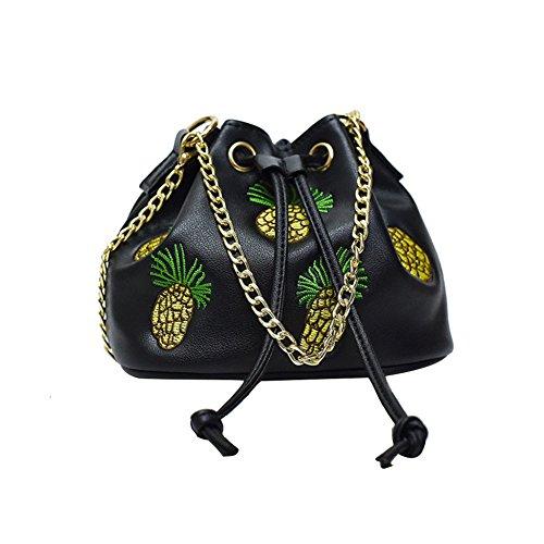 espeedy mode femmes mini messenger bag chaîne de cordon brodé fil de Ananas Motif sac à main sac d'épaule de les Señoras noir