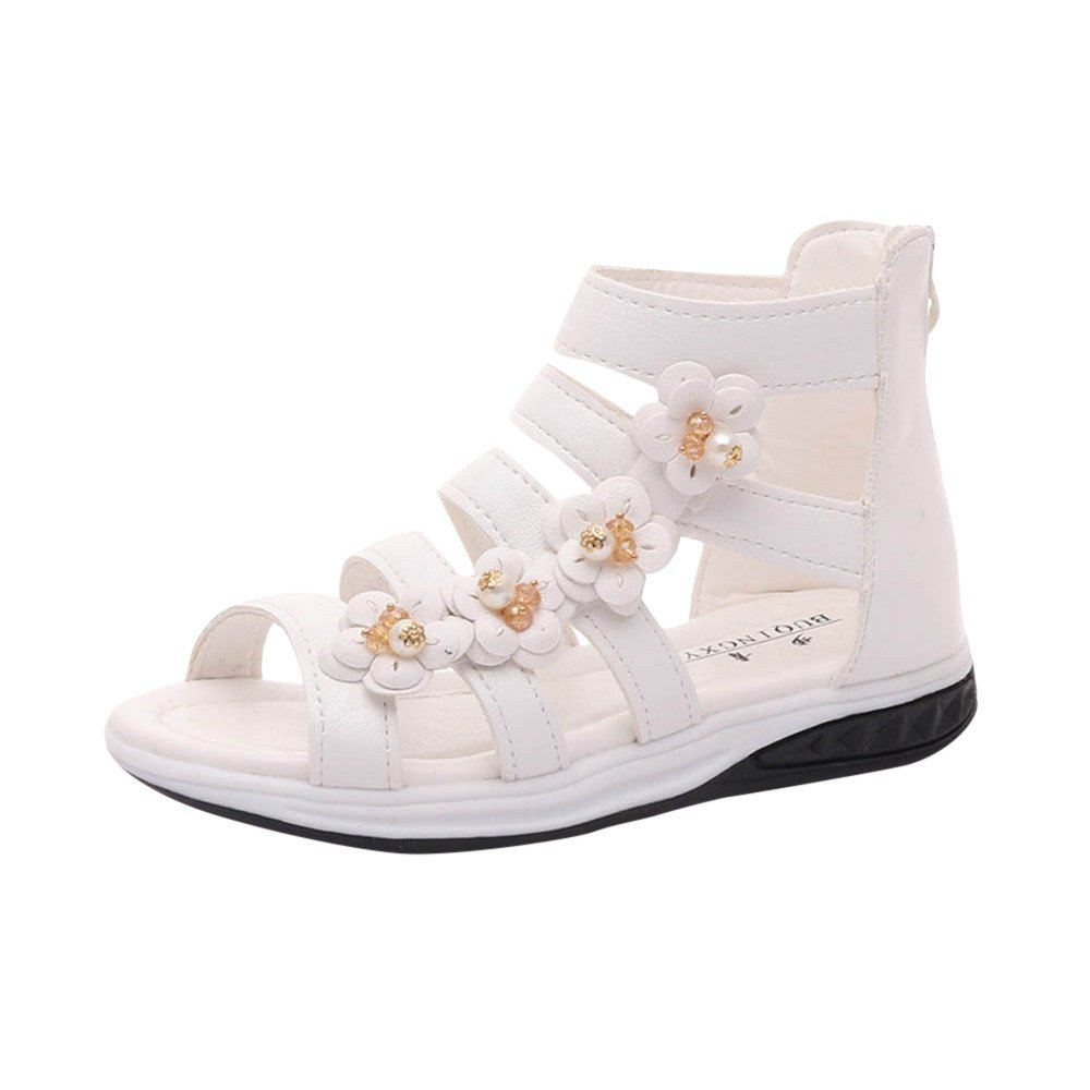 Lurryly Summer Children Girls Roman Zipper Flower Sandals Boot Princess Shoes 4-9 T