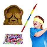 See-No-Evil Monkey Emoji Icon Pinata Kit Including Pinata, Buster Stick, Bandana, 2 lb Toy and Candy Filler