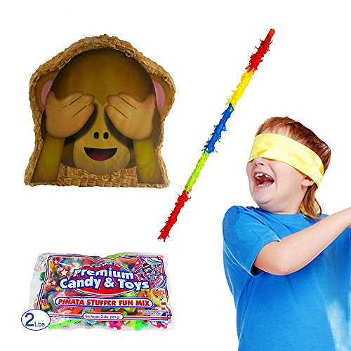 See-No-Evil Monkey Emoji Icon Pinata Kit Including Pinata, Buster Stick, Bandana, 2 lb Toy and Candy Filler