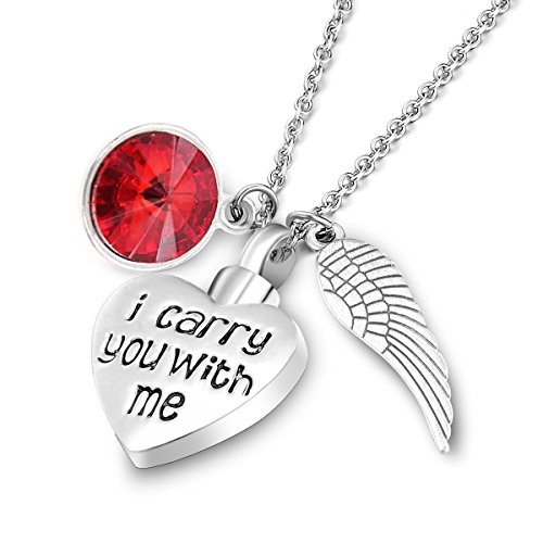 Angel Ruby Necklace - Cremation Urn Jewelry with Ruby Birthstone Ashes Keepsake Memorial Necklace-Engraved
