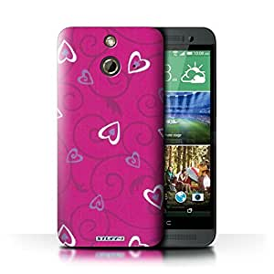 KOBALT? Protective Hard Back Phone Case / Cover for HTC One/1 E8 | Pink/Purple Design | Heart/Vine Pattern Collection by lolosakes