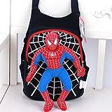Cartoon Spider-man Plush Dolls Nursery Child School Backpack Travel Bag for Kindergarten Students (black)