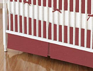 product image for SheetWorld 100% Cotton Percale Crib Skirt 28 x 52, Solid Burgundy Woven, Made in USA