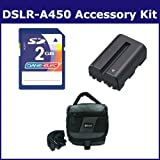 Sony Alpha DSLR-A450 Digital Camera Accessory Kit includes: KSD2GB Memory Card, SDC-27 Case, SDNPFM500H Battery