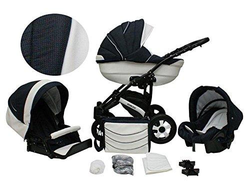 Lux4Kids Venezia Kinderwagen Komplettset (Autositz & Adapter, Regenschutz, Moskitonetz, Schwenkräder) 16 Granat & Ecoleder Weiß