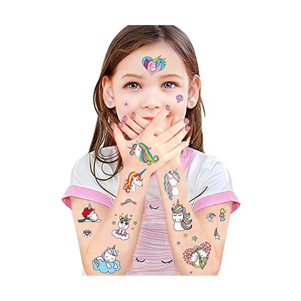 Jatidne Unicorn Temporary Tattoos for Kids Birthday Party, Waterproof Unicorn Tattoo Stencil Unicorn Party Supplies 25 sheets 8