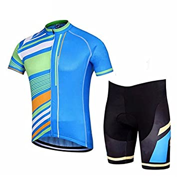 3e7d194ad Image Unavailable. Image not available for. Color  FidgetFidget Jersey Blue  Stripes and (Bib) Shorts Men s Cycling Kit Cycling Team Clothing S