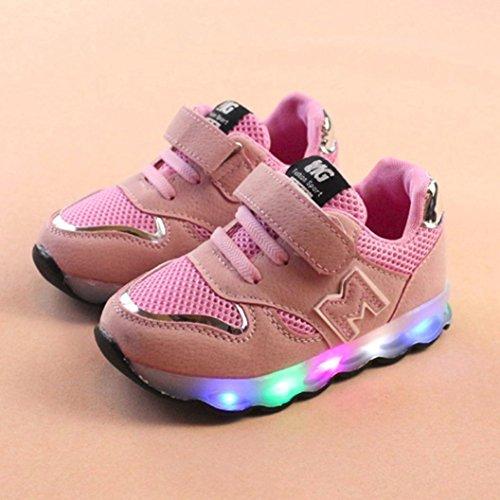 VENMO Kleinkind Kinder Mesh Schuhe Kinder Babyschuhe LED leuchten leuchtende Turnschuhe Schuhe Weiche Segeltuch-Schuhe Sneakers Turnschuhe Freizeitschuhe Laufschuhe Sportschuhe Turnschuhe Pink