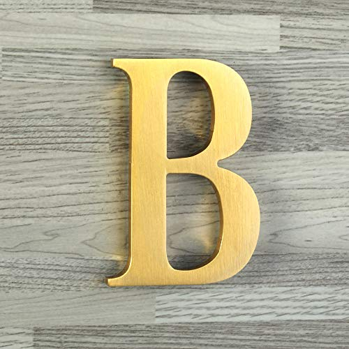 (Mellewell 2-1/2 Self-Adhesive Solid Brass Floating House Numbers Door Sign, Letter B)