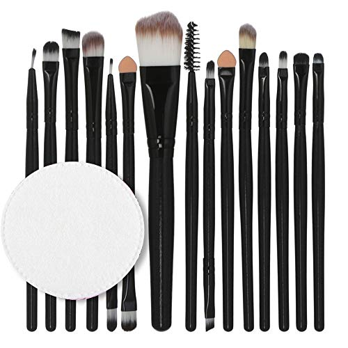 Price comparison product image Face Makeup Brushes Tool,  Sdoo 15pcs / set Makeup Brush Set tools Make-up Toiletry Kit Wool Make Up Brush Set Tops (Black)