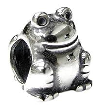 .925 Sterling Silver Frog Toad Bead For European Chamilia Biagi Troll Pandora Charm Bracelets