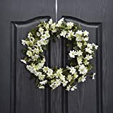 QUNWREATH Handmade 11 inch Wild Flowers Series Wreath,Leaf,Fall Wreath,Wreath for Front Door,Rustic Wreath,Farmhouse Wreath,Grapevine Wreath,Light up Wreath,Everyday Wreath,QUNW02