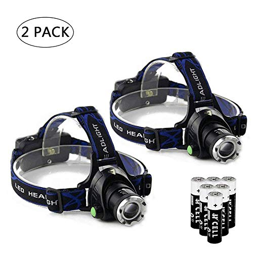 Ultra-bright XML T6 3000 Lumen 3 Mode Tactical Headlight with AAA Batteries Waterproof Taclight Headlamp Hands-Free Taclamp (2 Pack)