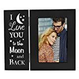 OUCHAN Love Picture Frame 4x6 inch Light up Carving Love You to The Moon Back Black