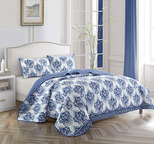 Casa Ivy Quilt Set, King, Blue & White (Blue Quilt And White)