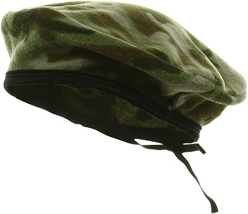 9ee11c311f595 e4Hats.com Camo Fleece Beret-Green at Amazon Men s Clothing store
