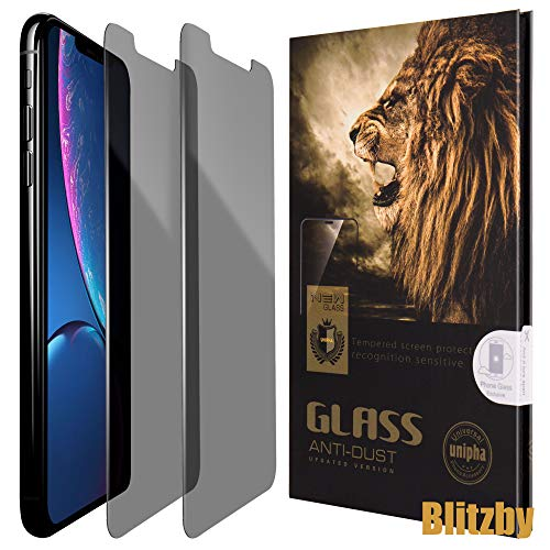 Blitzby iPhone XR Privacy Screen Protector Anti Spy Around You, Made of 0.30mm Premium Tempered Glass with 2.5D Rounded Edges