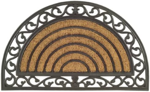 Imports Decor Half Round Rubber Back Coir Doormat, Scrolled Grill, 18-Inch by 30-Inch
