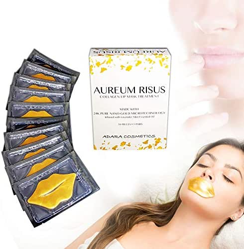AUREUM RISUS - 24K Gold Collagen Premium Lip Mask Treatment -Infused with Lavender Essential Oil for Chapped Lips, Dry Lips - Moisturizes, Firms Lips, Hydrates Mouth Area