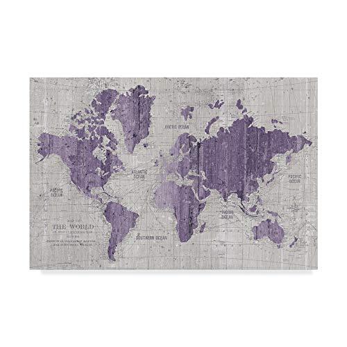 Trademark Fine Art Old World Map Purple Gray by Wild Apple Portfolio, 30x47