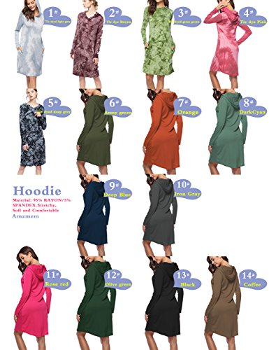 Brown Hoodie Dress Available 14 Dress with Colors Sweatshirt Plus Jersey Hooded Amzmem Sleeve Women's Pocket Pullover Size Long zatwqTHn