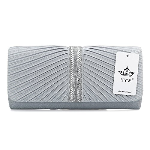 YYW Evening Bag - Cartera de mano para mujer, color plateado, talla Talla Unica: Amazon.es: Zapatos y complementos