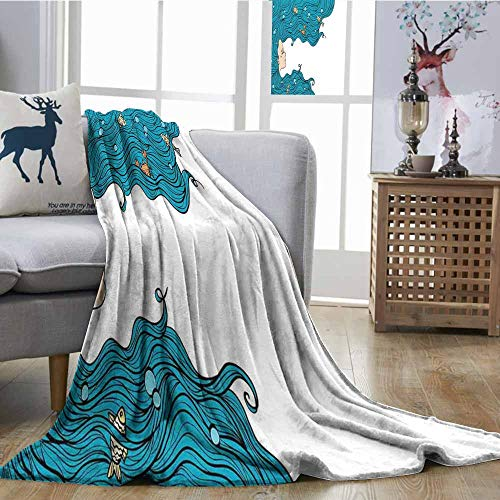 SONGDAYONE Breathable Blanket Mermaid Decor Anti-Wrinkle Blanket Girl with Big Hair Hairstyle Fly Away Fairytale Sleeping Crab Imaginary Artwork W54 -