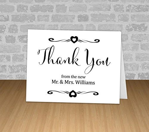 custom wedding thank you cards personalized folded cards set of 12 bride and groom - Custom Folded Note Cards