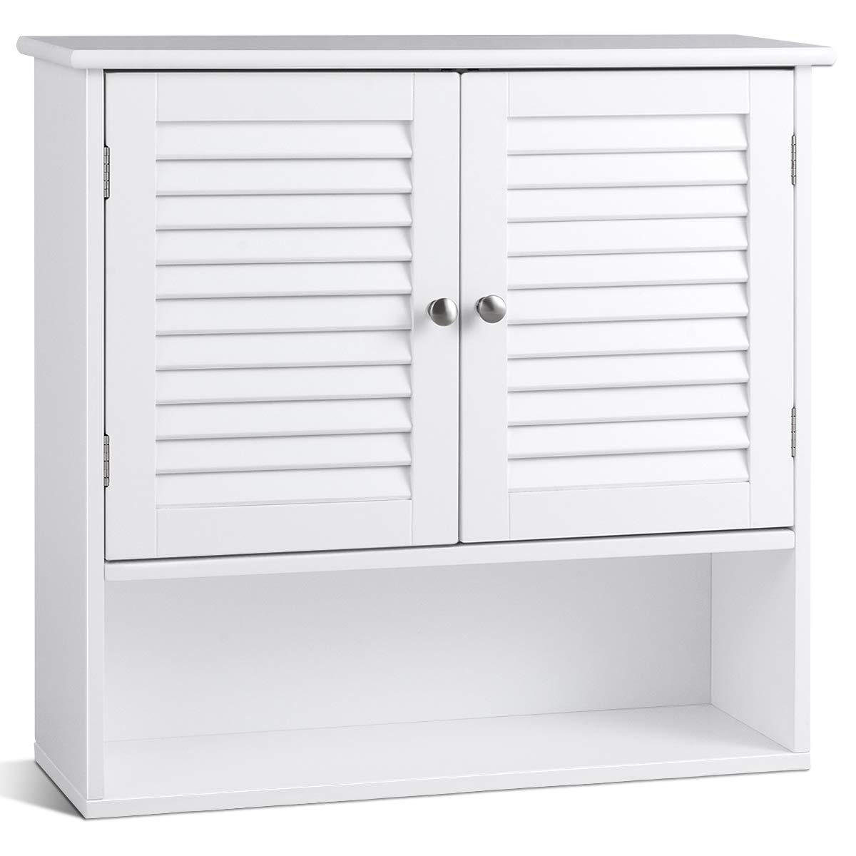 TANGKULA Wall Cabinet, Hanging Bathroom Medicine Cabinet with Double Shutter Doors and Adjustable Shelf, 26 x 8.5 x 25 Inches, White by Tangkula