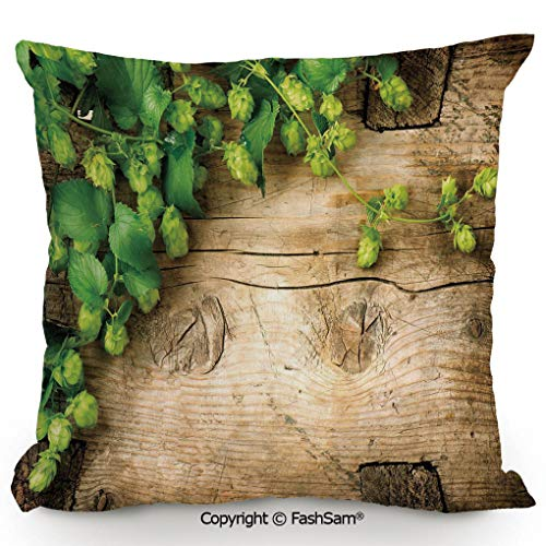 Throw Pillow Covers Hop Twigs on an Old and Cracked Wooden Board Fresh Picked Whole Hops Brewing Decorative for Couch Sofa Home Decor(24