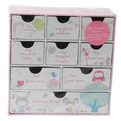 Bebé niña rosa memoria – Cajón de almacenamiento Caja de recuerdos, regalo para bautizo cumpleaños