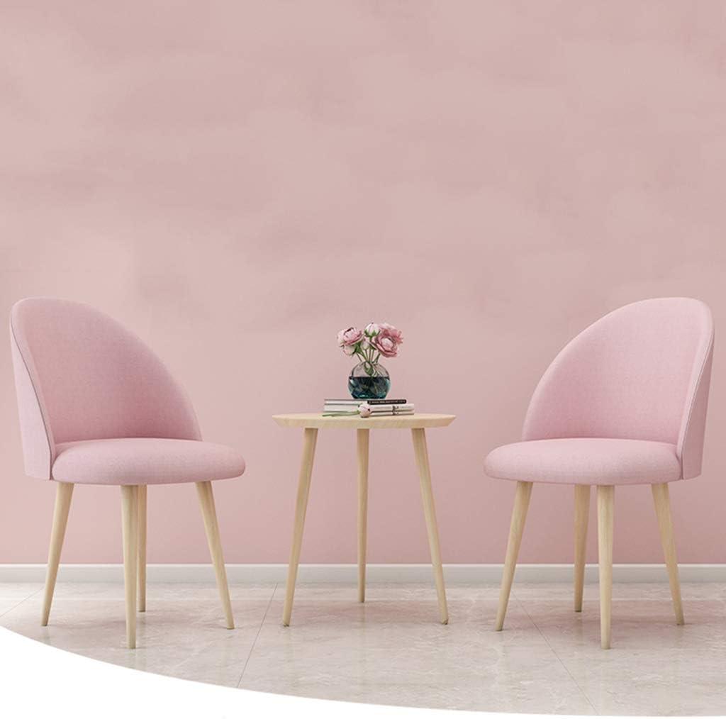 ZINIUKEJI Sillas de Comedor Sillas de Cocina Sillas de Esquina de Lino, con Respaldo y Patas de Madera Asiento, Rosa/Amarillo/Verde Pink