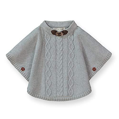 Hope & Henry Girls' Sweater Cape Heather Gray ()