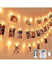 Łańcuch świetlny LED z klipsami do zdjęć, wielokrotnego użytku, 5 m, łańcuch świetlny, 8 trybów, 40 klipsów do zdjęć, zasilanie USB/bateryjne, nastrojowe oświetlenie, dekoracja do salonu, na Boże Narodzenie, wesele, imprezę