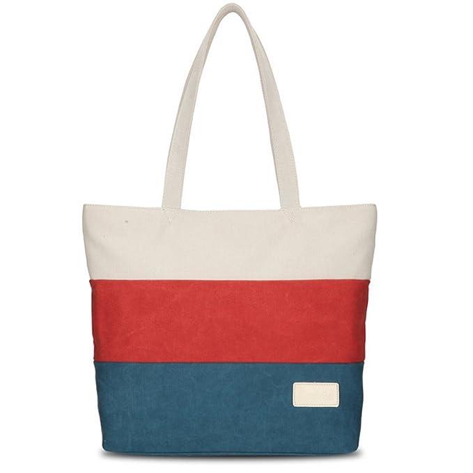 Lona Bolsos Mujer Bandolera Vintage Viaje Bolso de Mano Señoras Retro Casual Elegante Tote Bag Bolsa de Playa Azul: Amazon.es: Equipaje