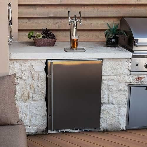EdgeStar KC7000SSODTRIP Full Size Tower Cooled Triple Tap Built-In Outdoor Kegerator - Stainless Steel