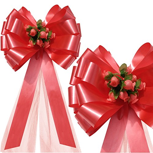 Light Coral Tulle Flower Decoration (Coral Wedding Pull Bows with Tulle Tails and Rosebuds - 8