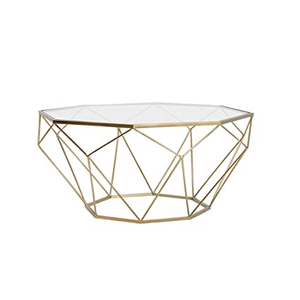 Wrought Iron Coffee Table Octagonal Transparent Tempered Glass