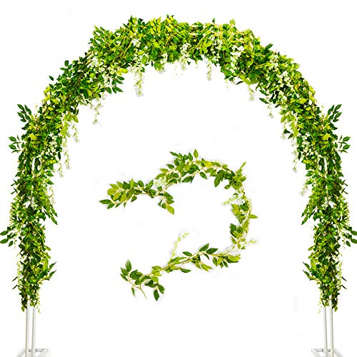 Wisteria Artificial Flowers- 4 Pcs Silk Wisteria Vines Total 28FT Hanging Flower Garland for Wedding Arch Party Home Garden Decoration (White)