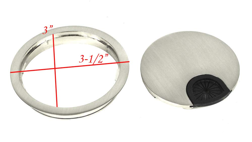 Kingsman Round Brushed Nickel Finish Wire Cable Furniture Grommet with Cover (5, 3-1/2 in. Diameter)