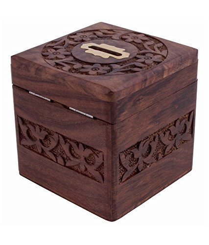 Wooden Coins Storage Box, Money Bank with Carving work, piggy bank for kids. Money Storage Box, Brown Color 4 X 4 Inch
