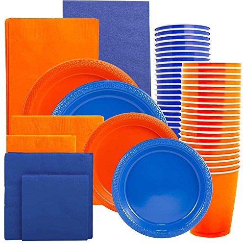 JAM Paper Party Supply Assortment - Orange & Blue Grad Pack - Plates (2 Sizes), Napkins (2 Sizes) , Cups & Tablecloths - 12/pack