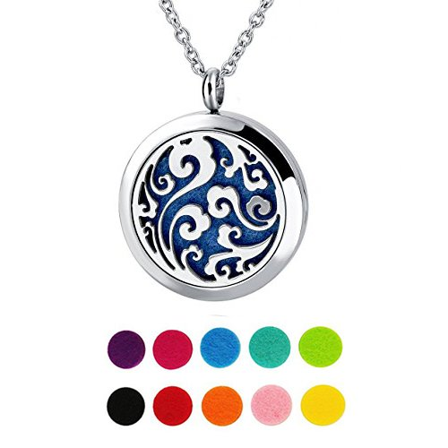 30mm Aromatherapy Essential Oil Perfume Diffuser Stainless Steel Ocean Wave Locket Necklace (Wave Scented Perfume)