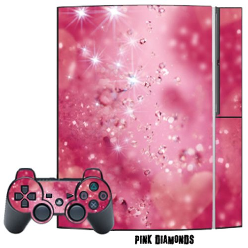 Price comparison product image Mightyskins Protective Skin Decal Cover Sticker for Playstation 3 Console + two PS3 Controllers - Pink Diamonds