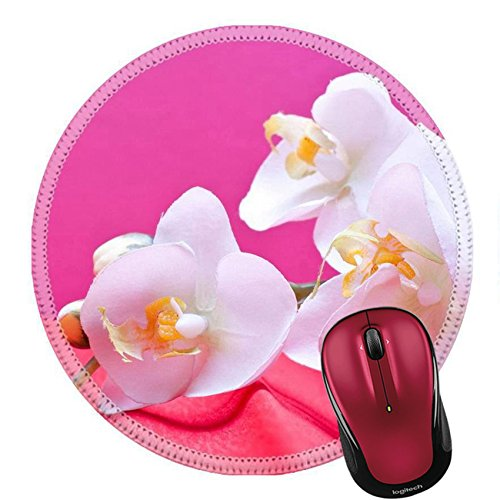 Liili Round Mouse Pad Natural Rubber Mousepad romantic pink background with orchid and copyspace IMAGE ID (Dusky Orchid)