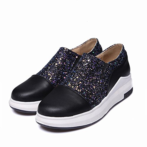 Mocassino Slip-on Bicolore Donna Latase Scarpe Nere + Paillettes