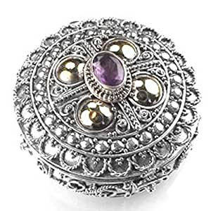 Ornate Amethyst and Sterling Silver Collectible Pillbox