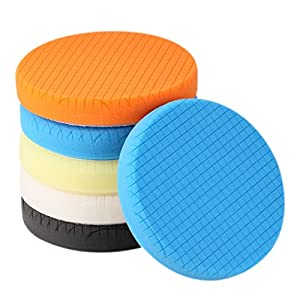 "SPTA 5Pcs 7""/180mm Compound Buffing Sponge Pads Polishing Pads Kit Buffing Pad For Car Buffer Polisher Sanding,Polishing, Waxing"